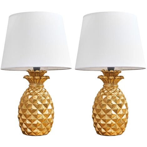 Pair of Pineapple Table Lamps in Gold With Tapered Shades - Navy Blue