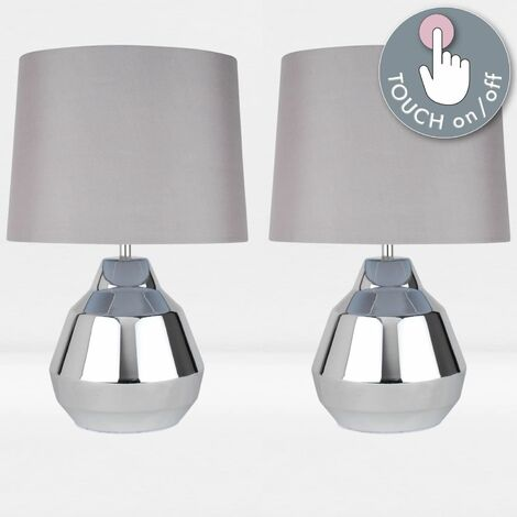 Pair of Polished Chrome 39cm Touch Lamps with Grey Shades