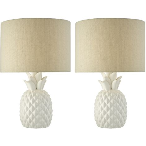 Pair of Porcelain Pineapple Table Lamps Natural Linen Shades
