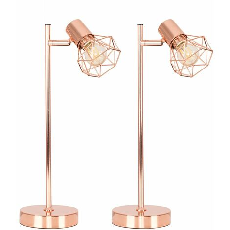 Pair of Retro Metal Basket Cage Desk Lamps in a Copper Finish