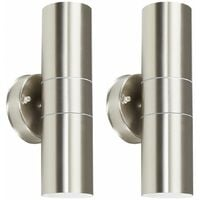 Pair of Stainless Steel External Up/Down IP44 Outdoor Security Wall Lights