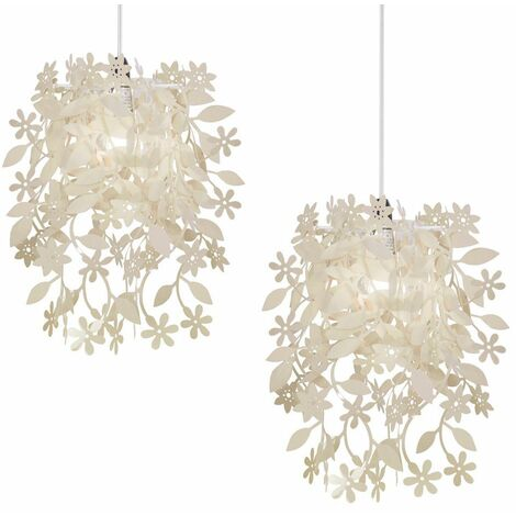 Pair of Stunning Floral Flowers & Leaves Dropping Chandelier Ceiling Pendant Light Shades