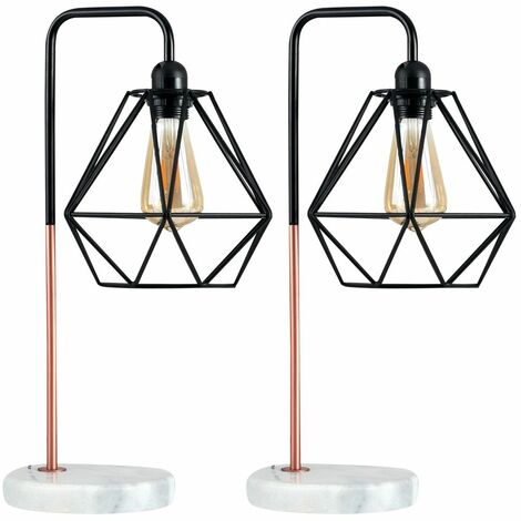Pair of Talisman Marble Base Table Lamps in Copper with Diablo Shades