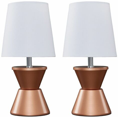 Pair of Tambor Table Lamps With White Shade + LED Bulb - Copper