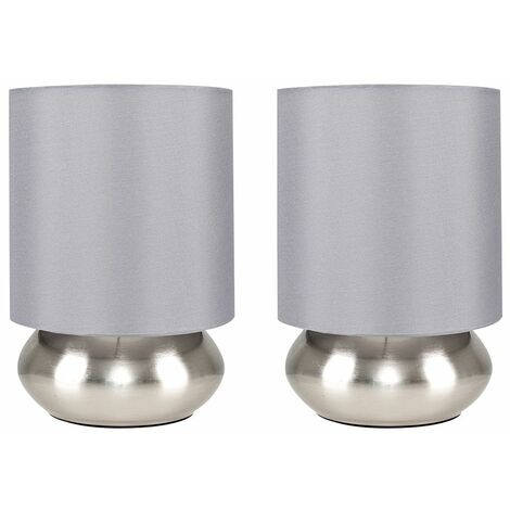 Pair Of Touch Table Lamps + 5W LED Dimmable Candle Bulbs - Grey - Silver