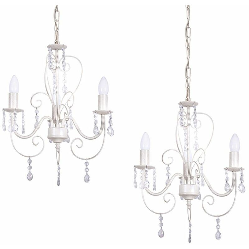 Pair of Traditional Style Distressed Cream Shabby Chic 3 Way Ceiling Light Chandeliers