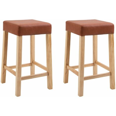 """main image of """"Pair of Wooden Breakfast Bar Stool with Padded Seat in Brown Bonded Leather 