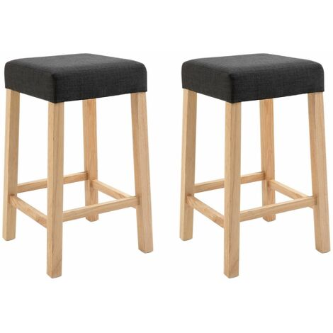 """main image of """"Pair of Wooden Breakfast Bar Stool with Padded Seat in Charcoal Grey 
