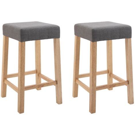 """main image of """"Pair of Wooden Breakfast Bar Stool with Padded Seat in Steel Grey 