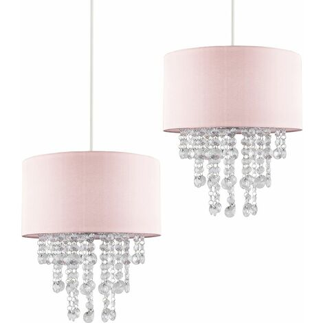Pair Pink Ceiling Pendant Light Shade with Clear Acrylic Jewel Droplets