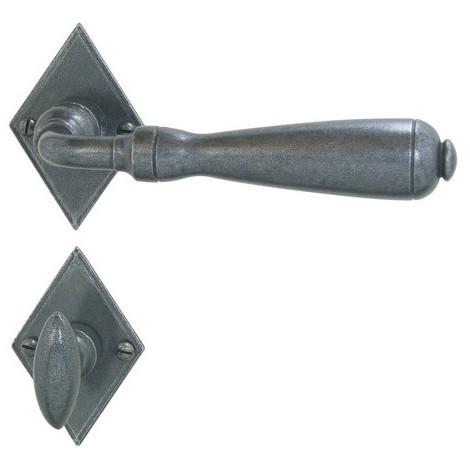 Paire béquille Entraygues BRIONNE fer gris Bec de cane condamnation sur rosace 46x69x3 20125 vis 2.5x10 - ROZ-6259010FG
