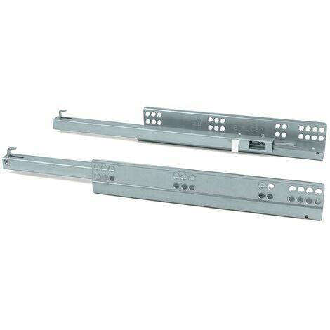 Paire de coulisses invisibles pour tiroirs à roulettes 240 mm sortie partielle système push Zingué EMUCA 3123005