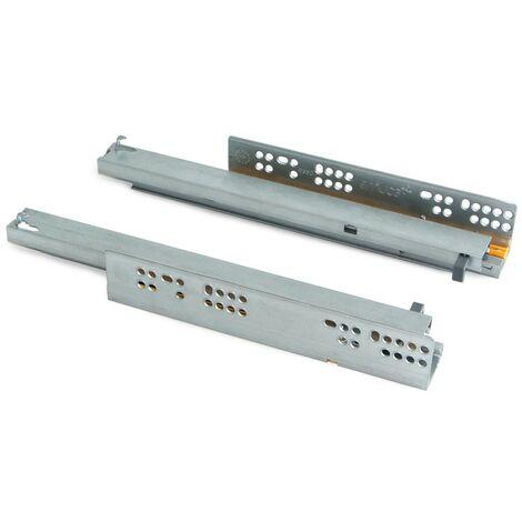 Paire de coulisses invisibles pour tiroirs à roulettes 250 mm sortie totale fermeture amortie Zingué EMUCA 3120005