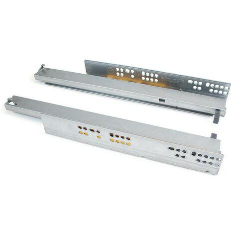 Paire de coulisses invisibles pour tiroirs à roulettes 250 mm sortie totale système push Zingué EMUCA 3122005