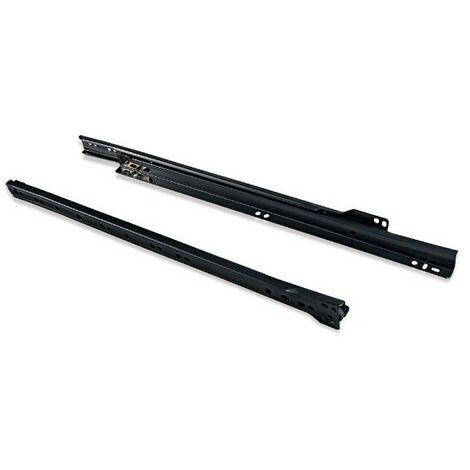 Paire de coulisses pour tiroirs - à roulettes - 800 mm - A sortie partielle - Noir