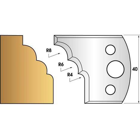 Paire de fers de toupie hauteur 40 n° 133 - Multi quart de rond
