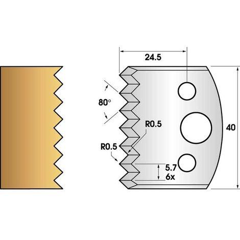 Paire de fers de toupie hauteur 40 n° 77 - bouvetage dents de scie