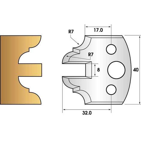 Paire de fers de toupie hauteur 40 n° 99 - contre-profil 40mm