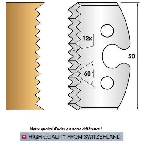 Paire de fers de toupie hauteur 50 mm n° 203 - enture pas de 4 mm