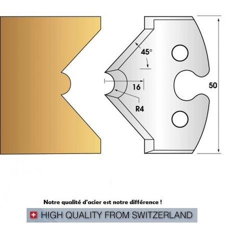 Paire de fers de toupie hauteur 50 mm n° 212 - mouchette 8mm et chanfrein