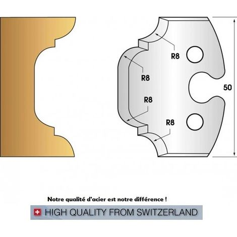 Paire de fers de toupie hauteur 50 mm n° 214 - congé et quart de rond 8 mm
