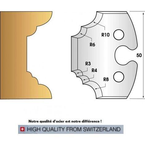 Paire de fers de toupie hauteur 50 mm n° 220 - multi quart de rond