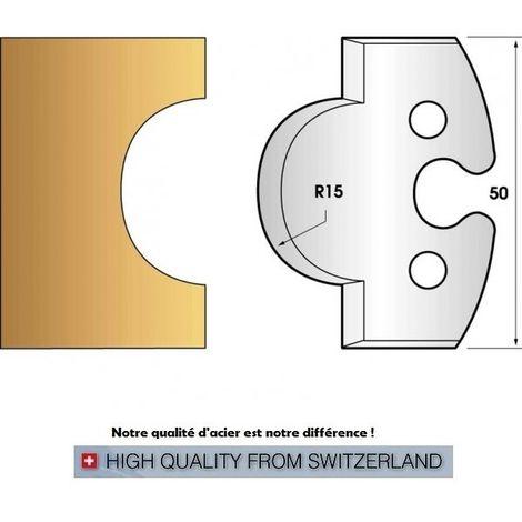 Paire de fers de toupie hauteur 50 mm n° 226 - gueule de loup rayon 15 mm