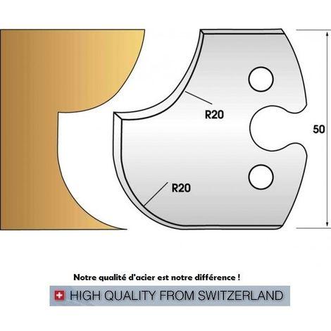 Paire de fers de toupie hauteur 50 mm n° 238 - congé et quart de rond rayon 20 mm