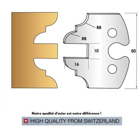 Paire de fers de toupie hauteur 50 mm n° 250 - contre-profil