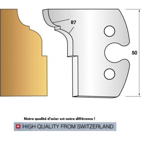 Paire de fers de toupie hauteur 50 mm n° 273 congé et quart de rond rayon 7 mm | Fers (coupants)