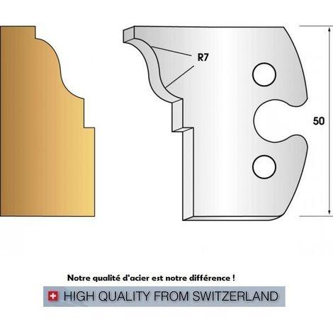 Paire de fers de toupie hauteur 50 mm n° 274 - doucine rayon 7 mm