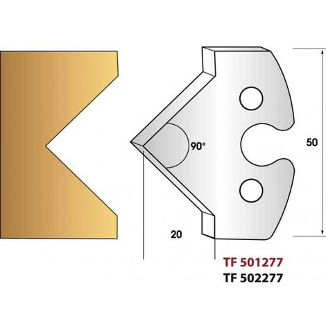 Paire de fers de toupie hauteur 50 mm n° 277 - pointe 90°
