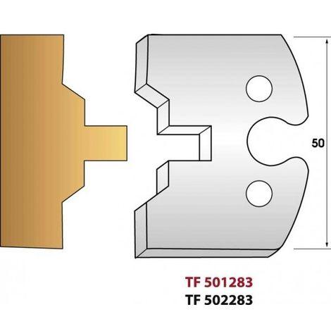 Paire de fers de toupie hauteur 50 mm n° 283 - lame volet languette 8mm
