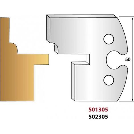 Paire de fers de toupie hauteur 50 mm n° 305 - bardage languette