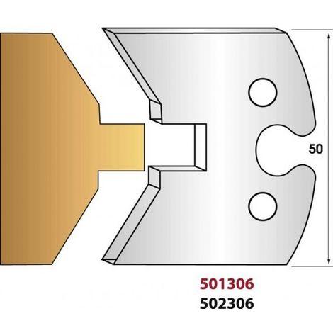 Paire de fers de toupie hauteur 50 mm n° 306 - simple rainure