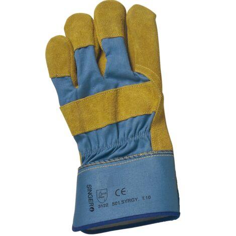 Paire de gants paume cuir croûte bovin jaune Singer 501SYRGY Taille 10