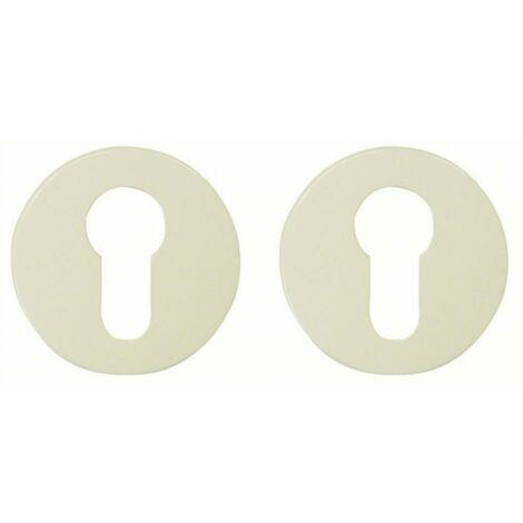 Paire rosace serrure S80 NORMBAU - Cylindre profilé - Blanc 19 - 247120