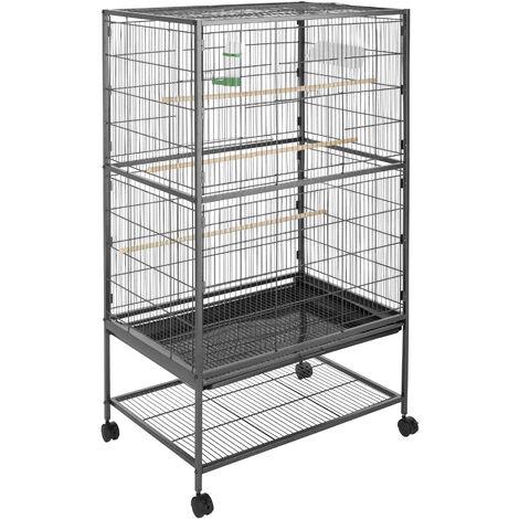 Pajarera 131cm altura - jaula para canarios, jaula para loros, jaula para pájaros - antracita