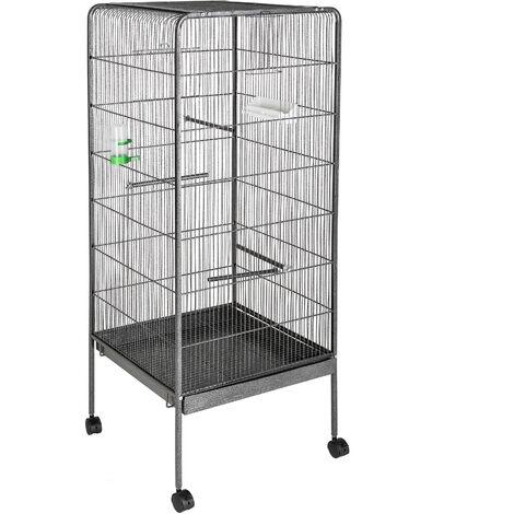 Pajarera 146cm altura - jaula para canarios, jaula para loros, jaula para pájaros - antracita