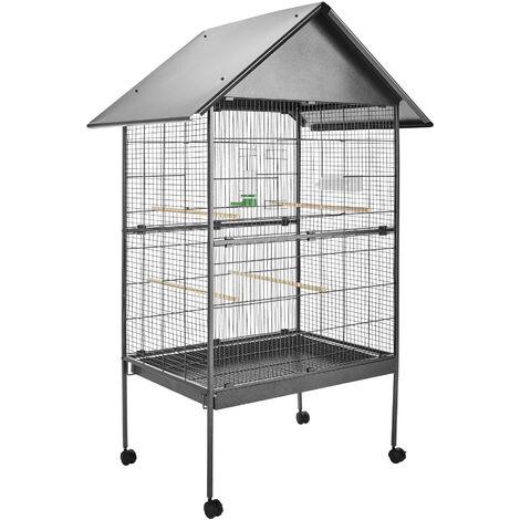 Pajarera 168cm altura - jaula para canarios, jaula para loros, jaula para pájaros - antracita