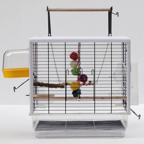 Pajarera 47*35*47.5-61cm altura - jaula para canarios, jaula para loros, jaula para pájaros,Puede abrir la vista transparente de la placa acrílica superior de la jaula