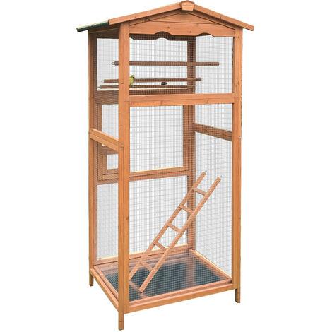Pajarera de madera para exterior con tejado, jaula para pájaros, caseta canarios, periquitos, etc.