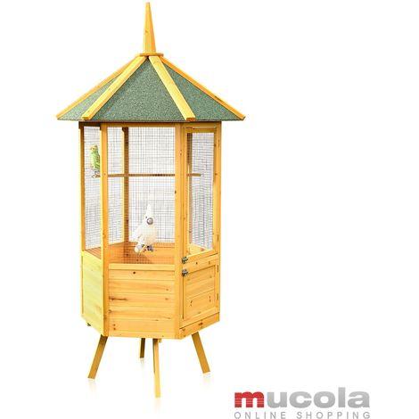 Pajarera jaula para pájaros casa de pájaros de madera Hexágono XXL habitación de pájaros jaula de loros nido casita para aves canarios