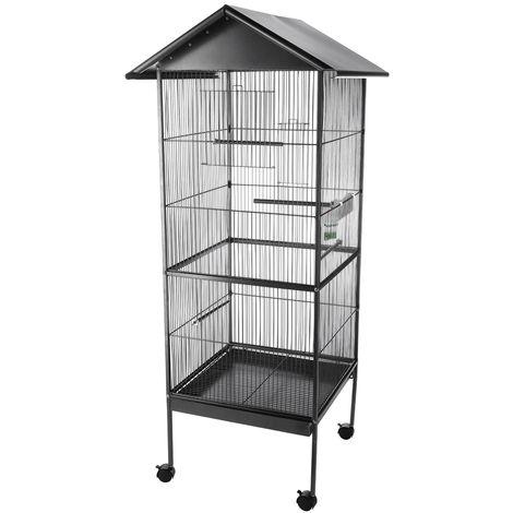 Pajarera jaula para pájaros casa de pájaros de Metal XXL Alto habitación de pájaros jaula de loros nido casita para aves jaula para canarios