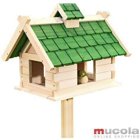 Pajarera Nido Jaula Madera Villa para pájaros casa de alimentación comedero adorno jardín aves barra casita Soporte para pajarera