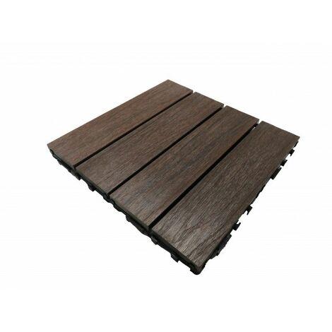 Paket Terrassenfliesen 1 m² aus coextrudiertem Holzverbundstoff (11 Fliesen 30 cm x 30 cm)
