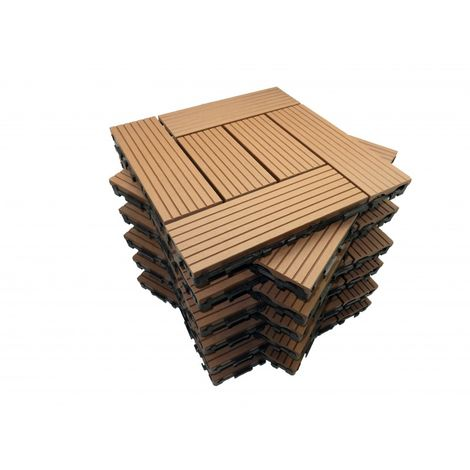 Paket Terrassenfliesen 1m² aus Holzverbundstoff Classic (11 Fliesen 30 x 30 cm ) - Farbe - Terrakotta, Breite - 30 cm, Länge - 30 cm, bedeckte Fläche in m² - 1