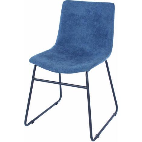 Pala E Blue Fabric Chairs Black Metal Legs (Pair)
