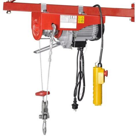 Palan à cable électrique d'atelier 200 / 400 kg avec poulie mouflage - 1000 w