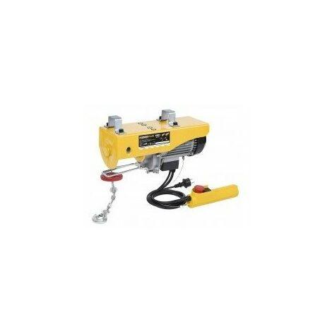 Palan electrique réf powx903capacité/mouflage 400kg (12m) / 800kg (6m)câble 12m (ø5 mm)puissance 1300wpoids 20 kgcapacité